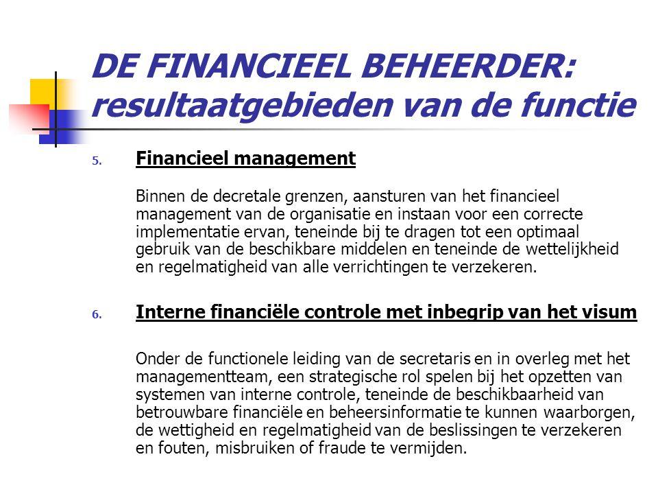 DE FINANCIEEL BEHEERDER: resultaatgebieden van de functie 5.