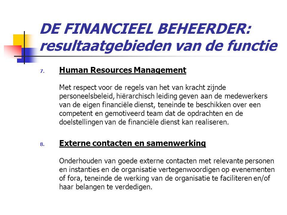 DE FINANCIEEL BEHEERDER: resultaatgebieden van de functie 7.
