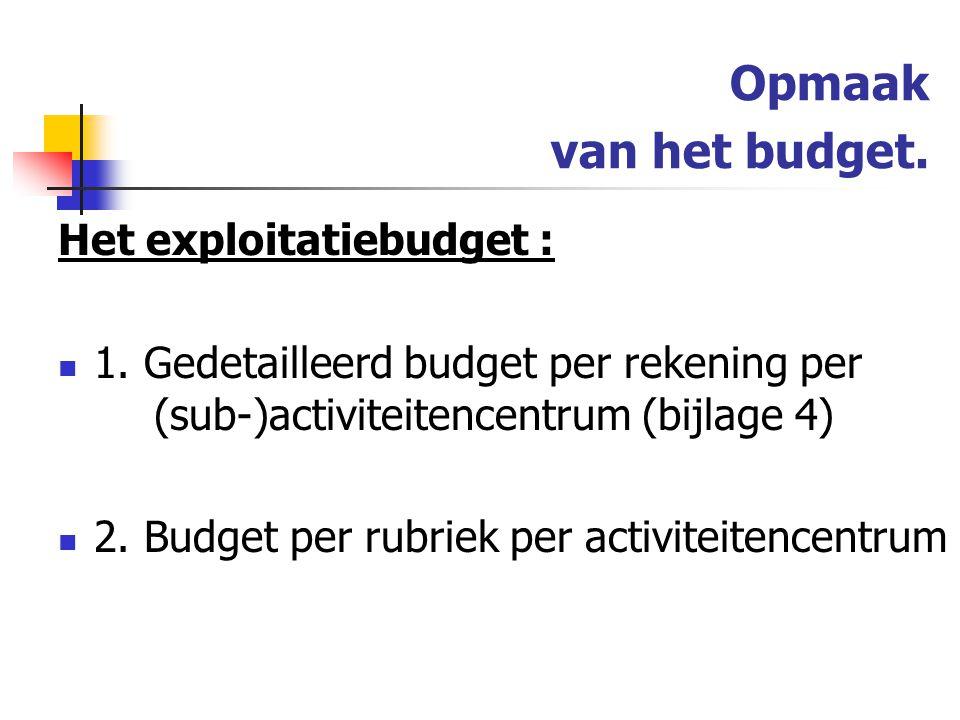 Opmaak van het budget.Het exploitatiebudget : 1.