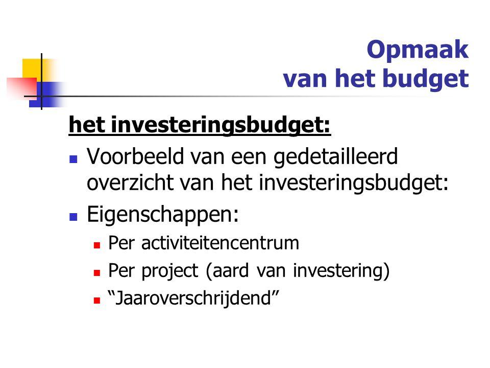 Opmaak van het budget het investeringsbudget: Voorbeeld van een gedetailleerd overzicht van het investeringsbudget: Eigenschappen: Per activiteitencentrum Per project (aard van investering) Jaaroverschrijdend