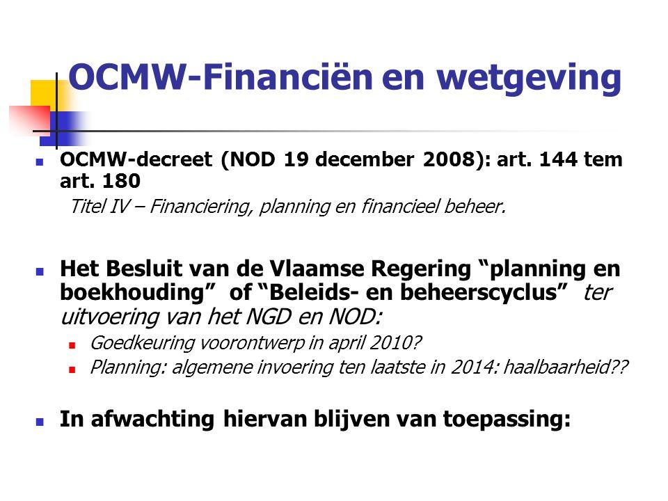 OCMW-Financiën en wetgeving Besluit (NOB) van de Vlaamse regering van 17 december 1997: betreffende de boekhouding en de administratieve organisatie van de openbare centra voor maatschappelijk welzijn (BS 08/04/1998) Ministerieel besluit van 20 juni 2001 tot vaststelling van de bijzondere voorwaarden betreffende de boekhouding en de administratieve organisatie van de openbare centra voor maatschappelijk welzijn.