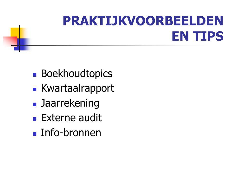 PRAKTIJKVOORBEELDEN EN TIPS Boekhoudtopics Kwartaalrapport Jaarrekening Externe audit Info-bronnen