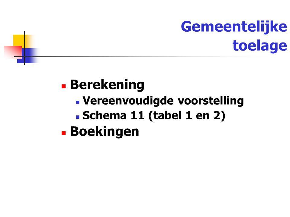 Gemeentelijke toelage Berekening Vereenvoudigde voorstelling Schema 11 (tabel 1 en 2) Boekingen