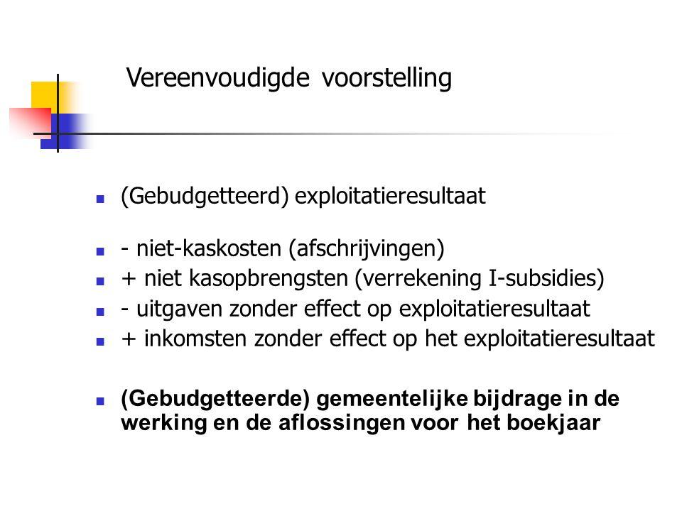 (Gebudgetteerd) exploitatieresultaat - niet-kaskosten (afschrijvingen) + niet kasopbrengsten (verrekening I-subsidies) - uitgaven zonder effect op exploitatieresultaat + inkomsten zonder effect op het exploitatieresultaat (Gebudgetteerde) gemeentelijke bijdrage in de werking en de aflossingen voor het boekjaar Vereenvoudigde voorstelling