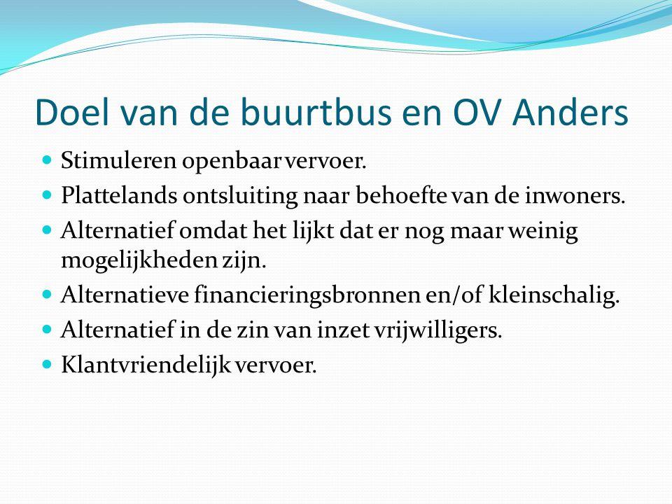Doel van de buurtbus en OV Anders Stimuleren openbaar vervoer.