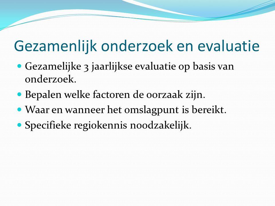 Gezamenlijk onderzoek en evaluatie Gezamelijke 3 jaarlijkse evaluatie op basis van onderzoek.