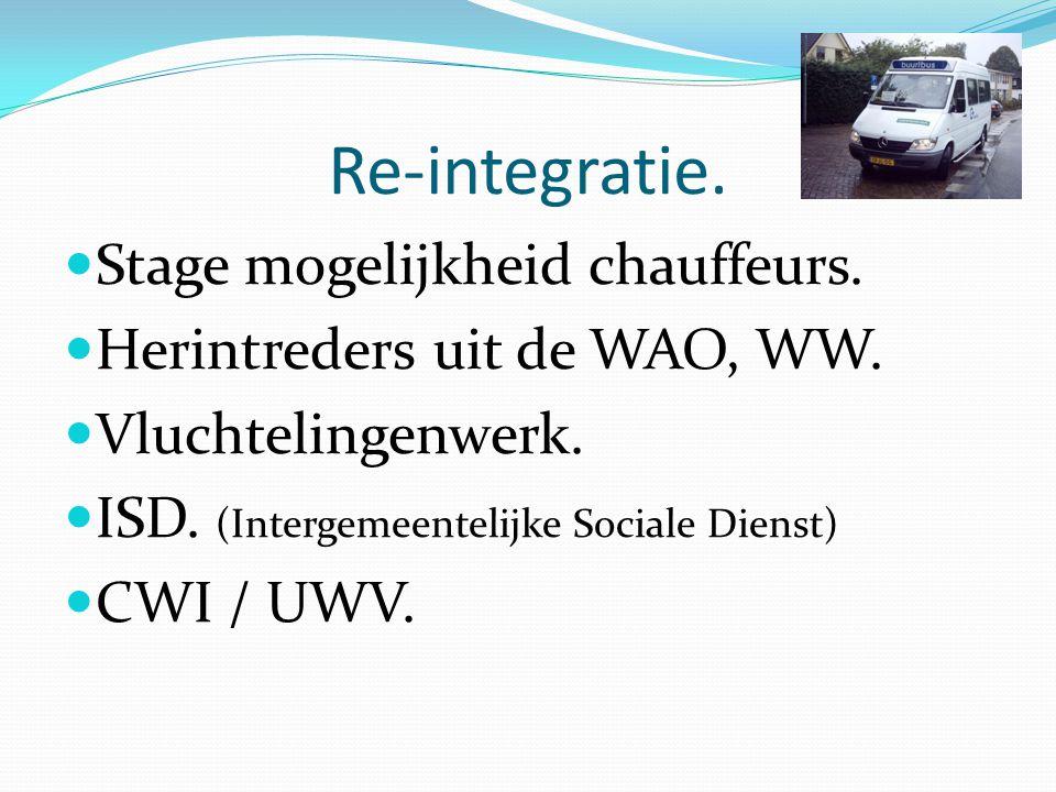Re-integratie.Stage mogelijkheid chauffeurs. Herintreders uit de WAO, WW.