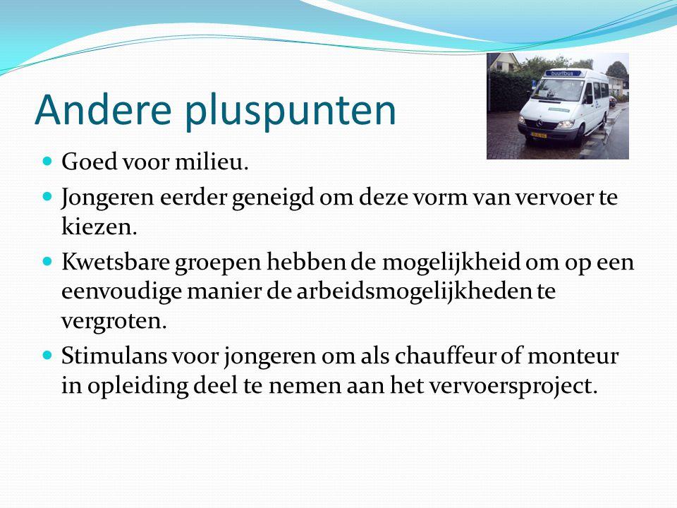 Andere pluspunten Goed voor milieu.Jongeren eerder geneigd om deze vorm van vervoer te kiezen.