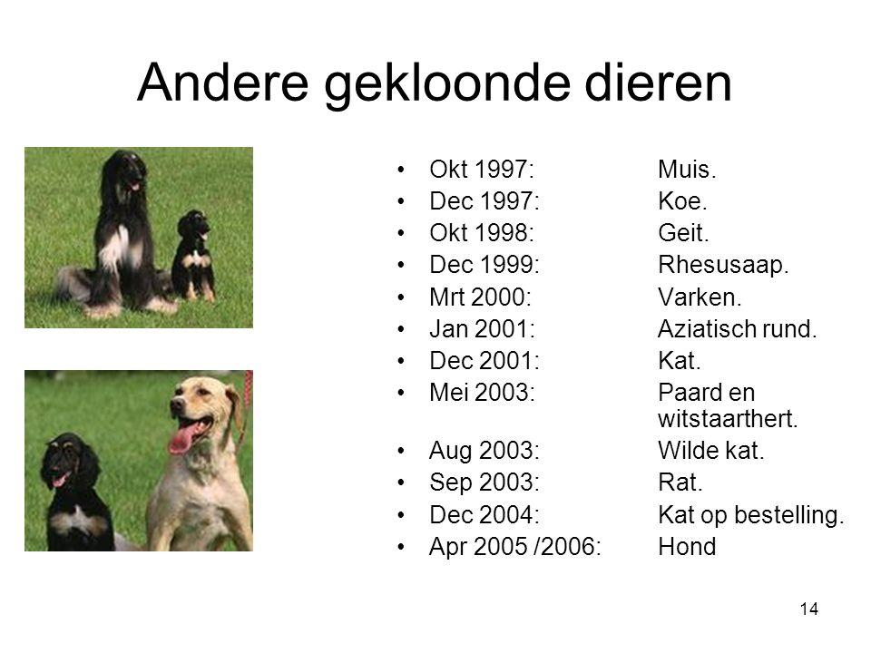 14 Andere gekloonde dieren Okt 1997: Muis. Dec 1997: Koe. Okt 1998: Geit. Dec 1999: Rhesusaap. Mrt 2000: Varken. Jan 2001:Aziatisch rund. Dec 2001:Kat