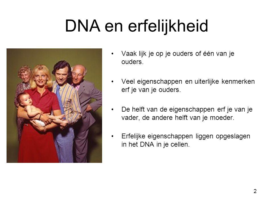 2 DNA en erfelijkheid Vaak lijk je op je ouders of één van je ouders. Veel eigenschappen en uiterlijke kenmerken erf je van je ouders. De helft van de