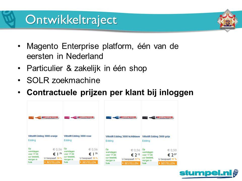 Ontwikkeltraject Magento Enterprise platform, één van de eersten in Nederland Particulier & zakelijk in één shop SOLR zoekmachine Contractuele prijzen per klant bij inloggen