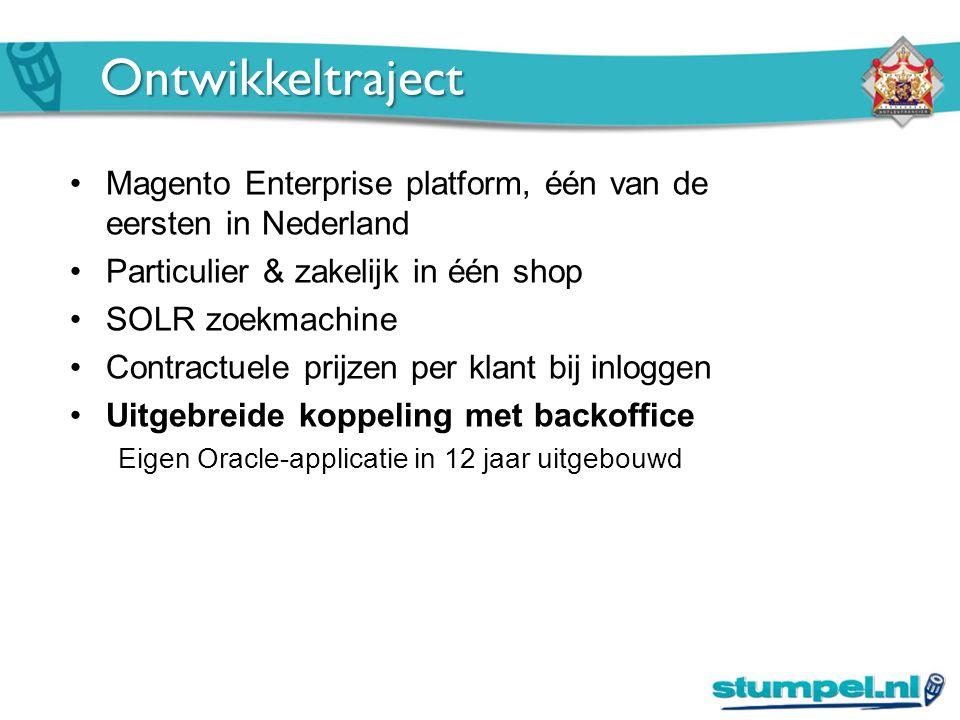 Ontwikkeltraject Magento Enterprise platform, één van de eersten in Nederland Particulier & zakelijk in één shop SOLR zoekmachine Contractuele prijzen per klant bij inloggen Uitgebreide koppeling met backoffice Eigen Oracle-applicatie in 12 jaar uitgebouwd
