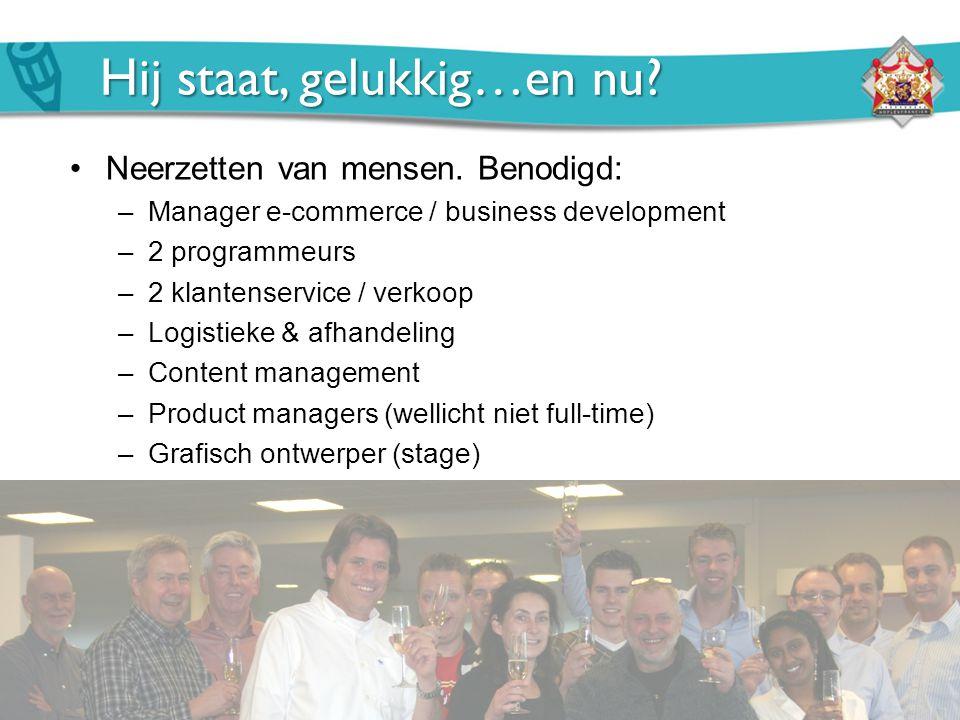 Hij staat, gelukkig…en nu? Neerzetten van mensen. Benodigd: –Manager e-commerce / business development –2 programmeurs –2 klantenservice / verkoop –Lo