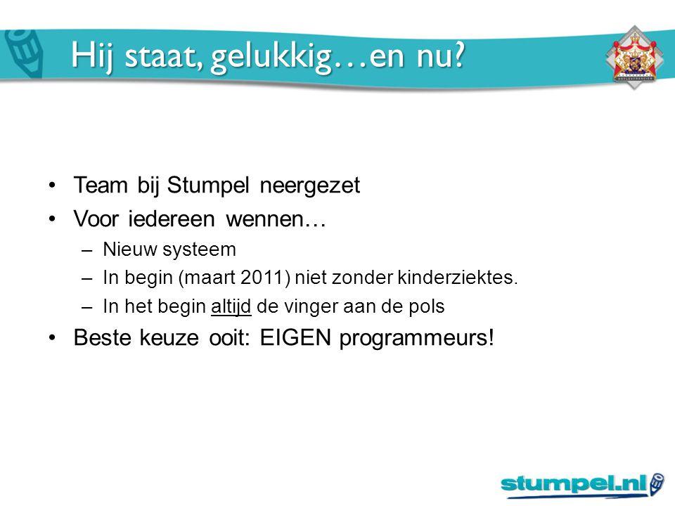 Hij staat, gelukkig…en nu? Team bij Stumpel neergezet Voor iedereen wennen… –Nieuw systeem –In begin (maart 2011) niet zonder kinderziektes. –In het b