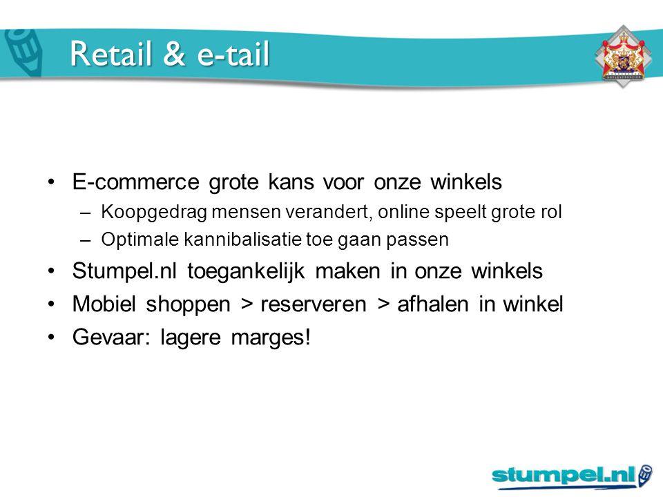Retail & e-tail E-commerce grote kans voor onze winkels –Koopgedrag mensen verandert, online speelt grote rol –Optimale kannibalisatie toe gaan passen Stumpel.nl toegankelijk maken in onze winkels Mobiel shoppen > reserveren > afhalen in winkel Gevaar: lagere marges!