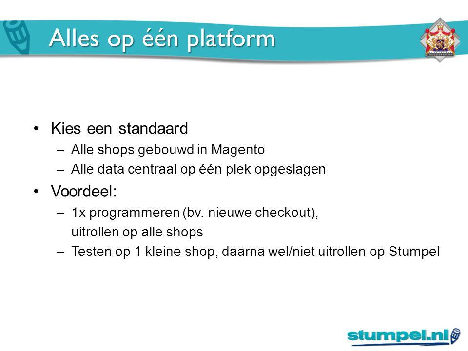 Alles op één platform Kies een standaard –Alle shops gebouwd in Magento –Alle data centraal op één plek opgeslagen Voordeel: –1x programmeren (bv.