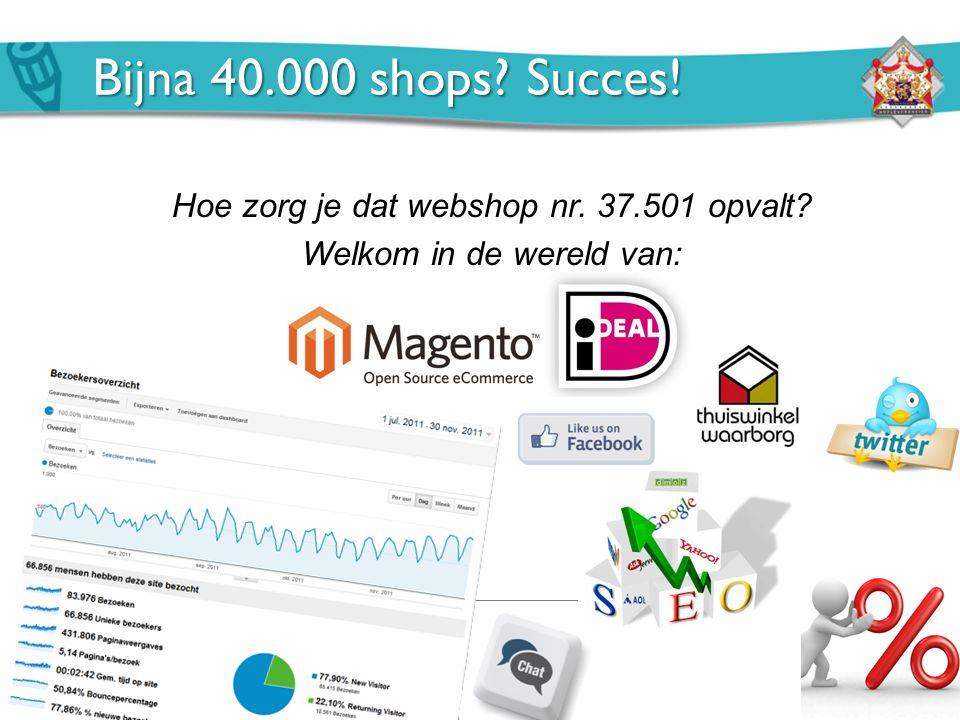 Hoe zorg je dat webshop nr. 37.501 opvalt? Welkom in de wereld van: Bijna 40.000 shops? Succes!