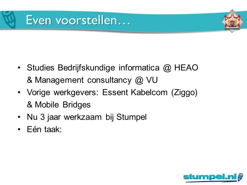 Even voorstellen… Studies Bedrijfskundige informatica @ HEAO & Management consultancy @ VU Vorige werkgevers: Essent Kabelcom (Ziggo) & Mobile Bridges Nu 3 jaar werkzaam bij Stumpel Eén taak: