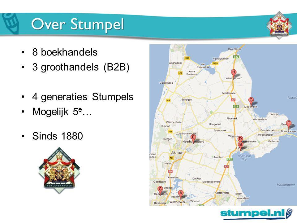 Over Stumpel 8 boekhandels 3 groothandels (B2B) 4 generaties Stumpels Mogelijk 5 e … Sinds 1880