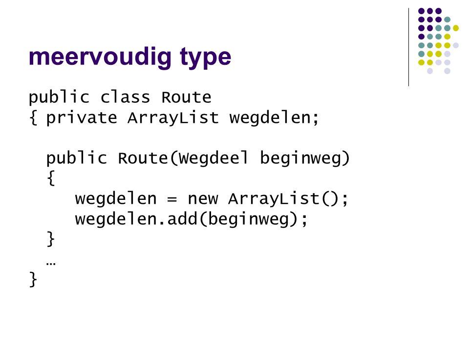 API –java.util.ArrayList int size() Object get(int) boolean add(Object) // returnwaarde is nu onbelangrijk Object remove(int) Object set(int, Object) void add(int, Object) Iterator iterator() en nog vele andere methoden …