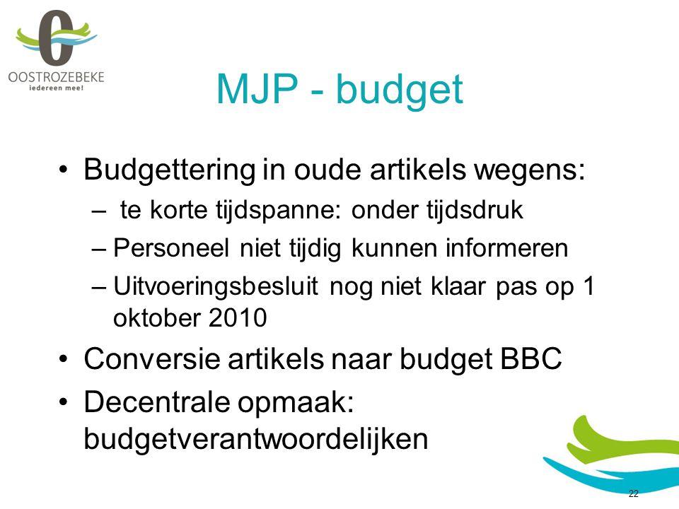 MJP - budget Budgettering in oude artikels wegens: – te korte tijdspanne: onder tijdsdruk –Personeel niet tijdig kunnen informeren –Uitvoeringsbesluit nog niet klaar pas op 1 oktober 2010 Conversie artikels naar budget BBC Decentrale opmaak: budgetverantwoordelijken 22