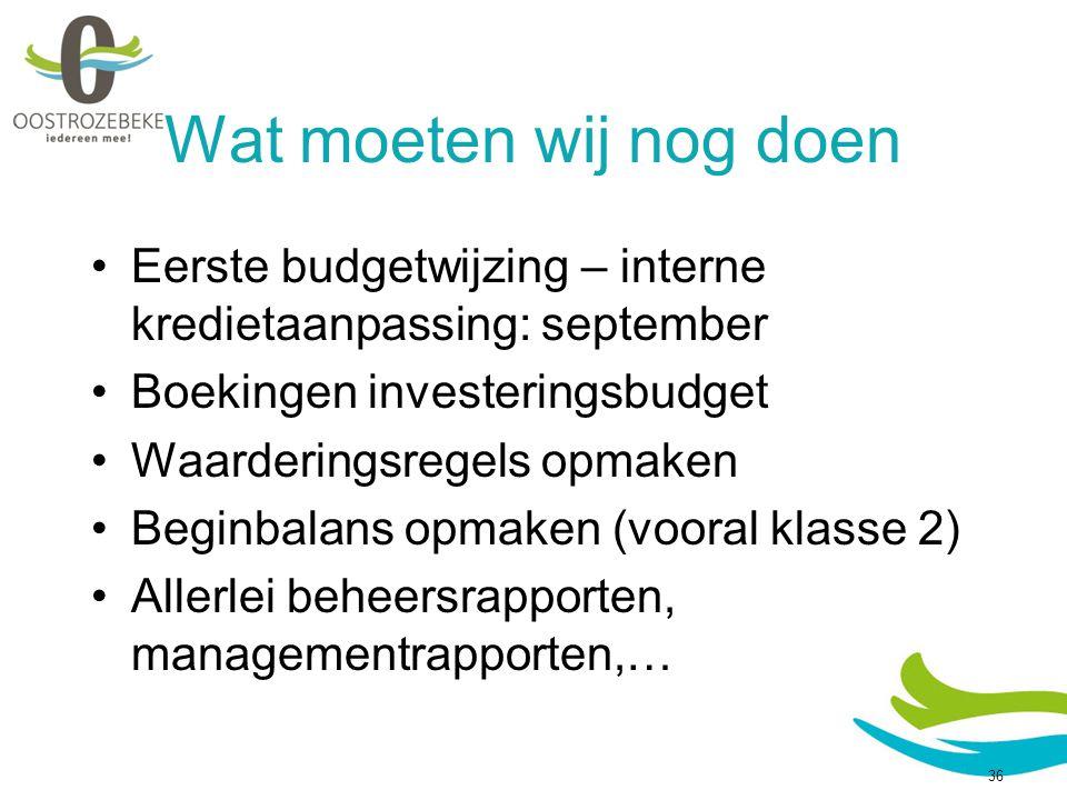 Wat moeten wij nog doen Eerste budgetwijzing – interne kredietaanpassing: september Boekingen investeringsbudget Waarderingsregels opmaken Beginbalans opmaken (vooral klasse 2) Allerlei beheersrapporten, managementrapporten,… 36