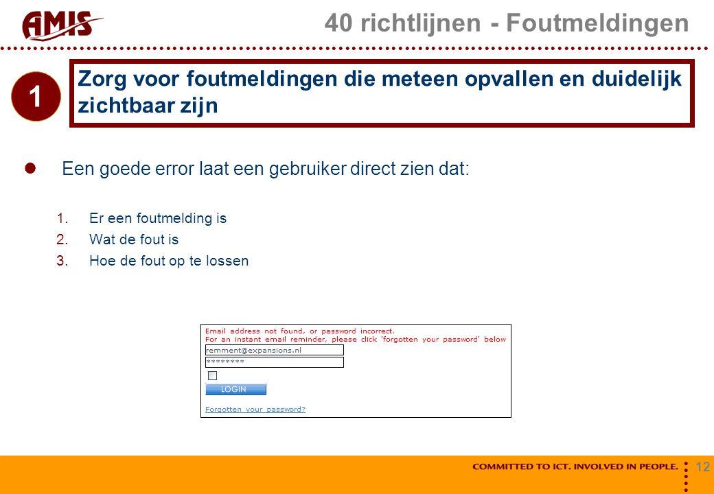 12 40 richtlijnen - Foutmeldingen Een goede error laat een gebruiker direct zien dat: 1.Er een foutmelding is 2.Wat de fout is 3.Hoe de fout op te los