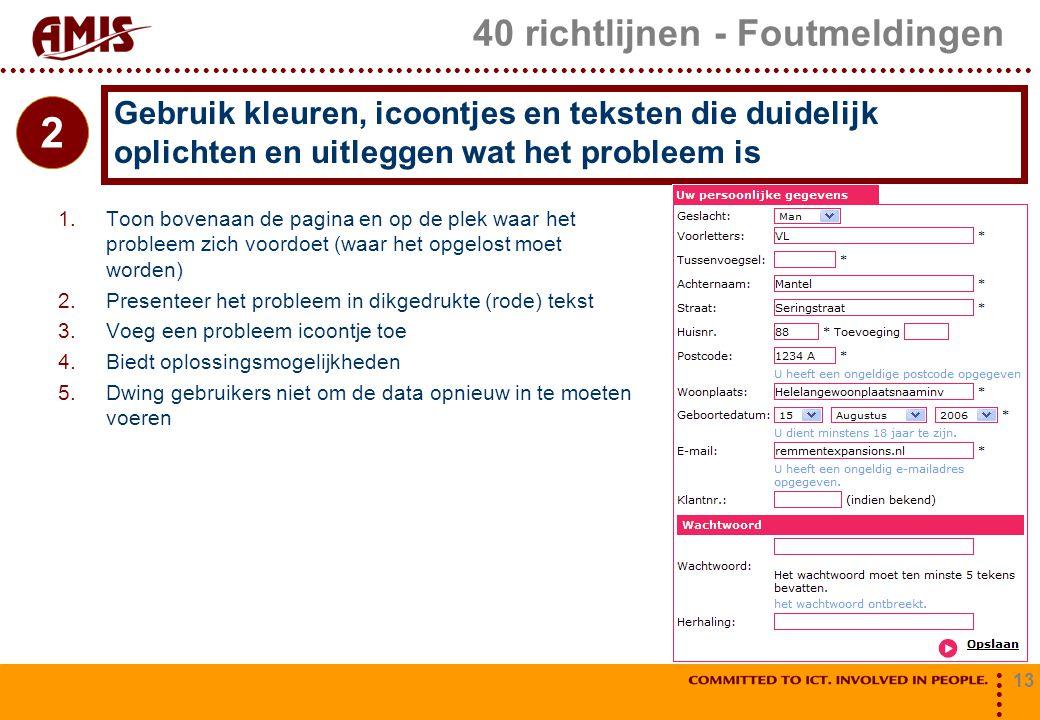 13 40 richtlijnen - Foutmeldingen 1.Toon bovenaan de pagina en op de plek waar het probleem zich voordoet (waar het opgelost moet worden) 2.Presenteer
