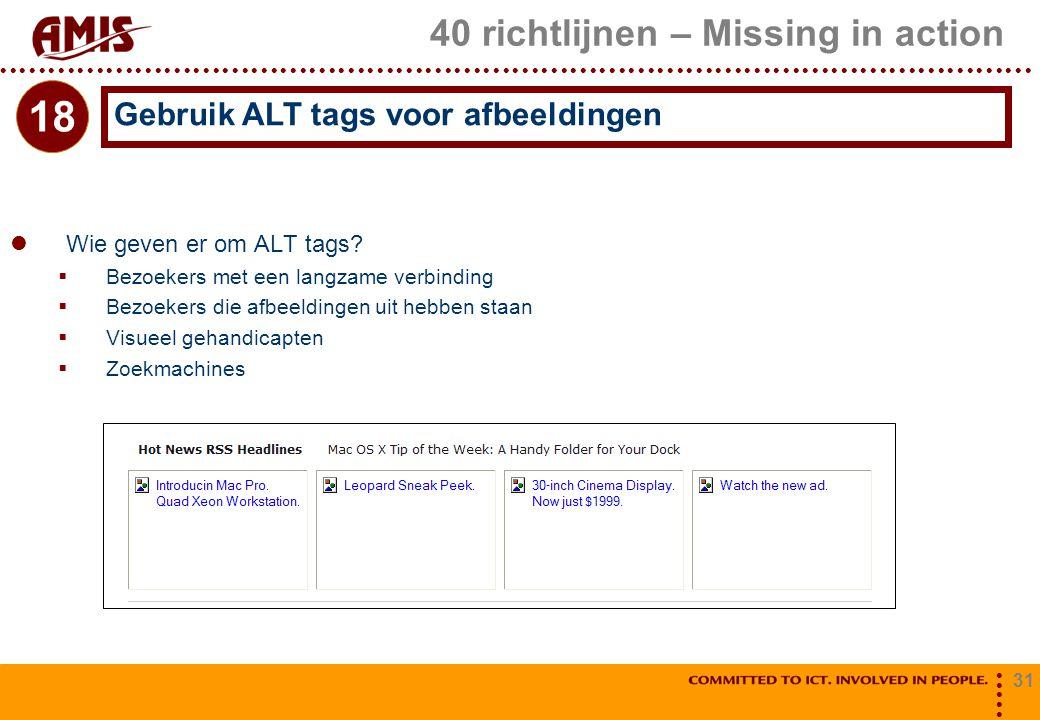 31 40 richtlijnen – Missing in action Wie geven er om ALT tags?  Bezoekers met een langzame verbinding  Bezoekers die afbeeldingen uit hebben staan