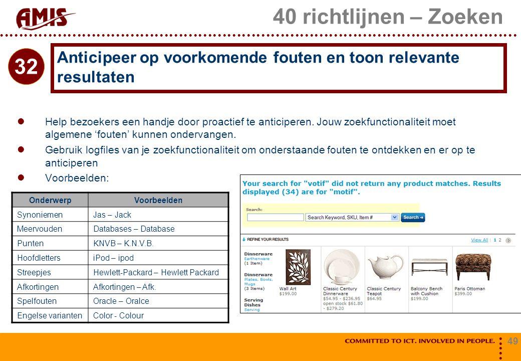 49 40 richtlijnen – Zoeken Help bezoekers een handje door proactief te anticiperen. Jouw zoekfunctionaliteit moet algemene 'fouten' kunnen ondervangen