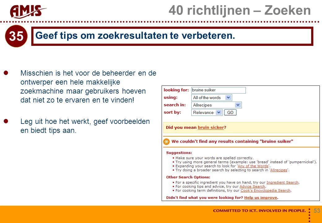 53 40 richtlijnen – Zoeken Misschien is het voor de beheerder en de ontwerper een hele makkelijke zoekmachine maar gebruikers hoeven dat niet zo te er