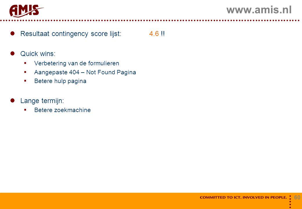 60 www.amis.nl Resultaat contingency score lijst: 4.6 !! Quick wins:  Verbetering van de formulieren  Aangepaste 404 – Not Found Pagina  Betere hul