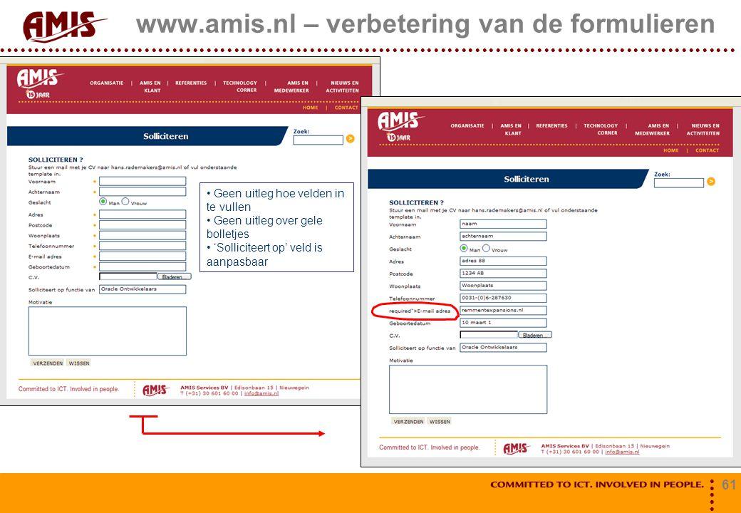 61 www.amis.nl – verbetering van de formulieren Geen uitleg hoe velden in te vullen Geen uitleg over gele bolletjes 'Solliciteert op' veld is aanpasba