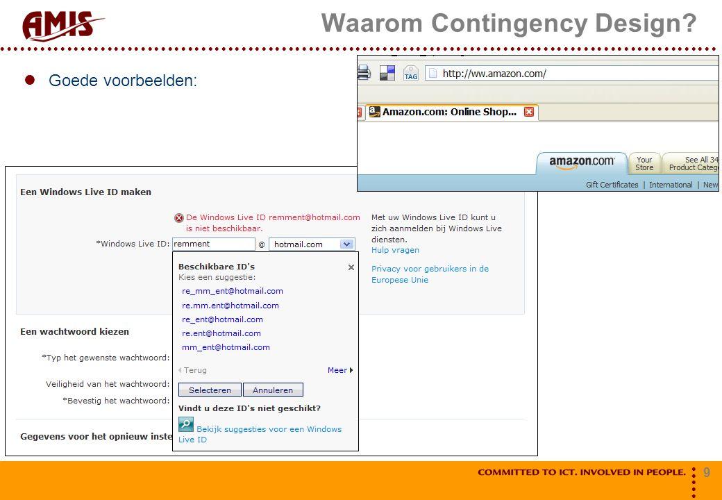 9 Waarom Contingency Design? Goede voorbeelden:
