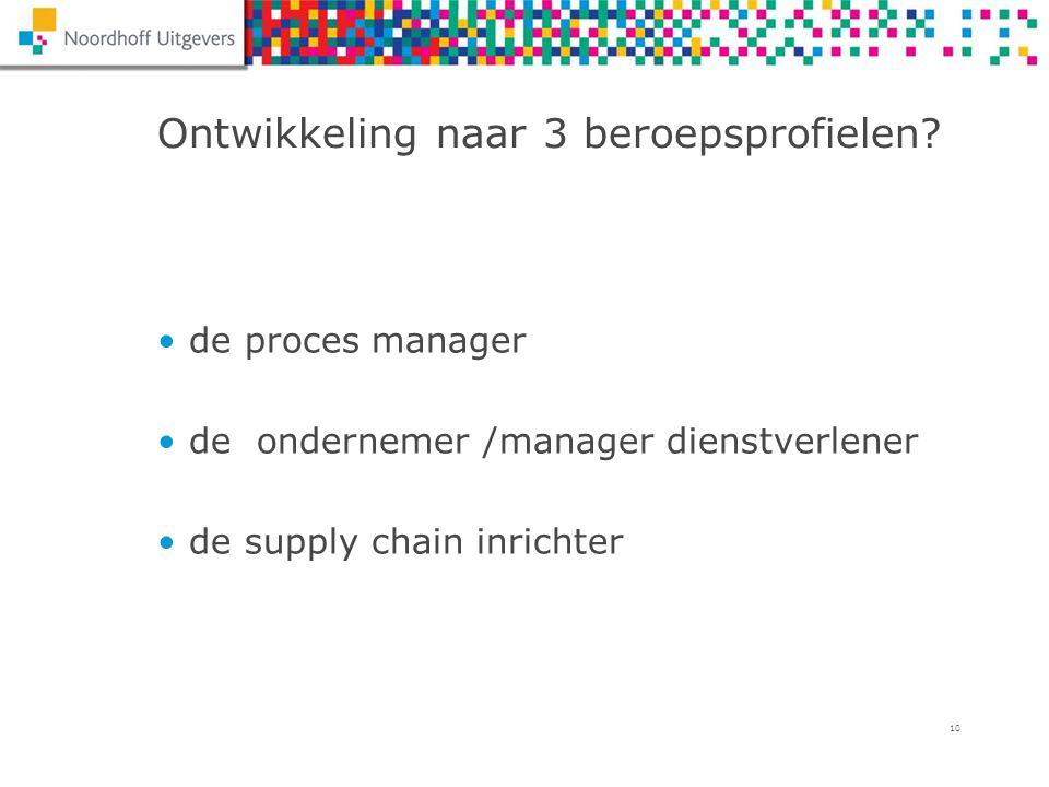10 Ontwikkeling naar 3 beroepsprofielen? de proces manager de ondernemer /manager dienstverlener de supply chain inrichter