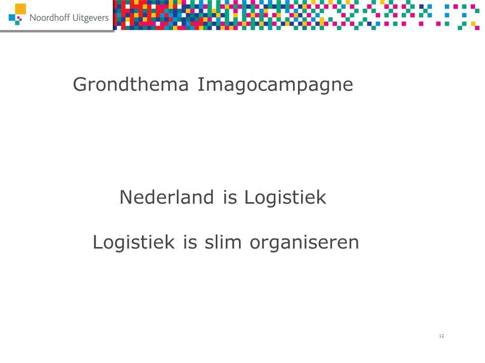 12 Grondthema Imagocampagne Nederland is Logistiek Logistiek is slim organiseren