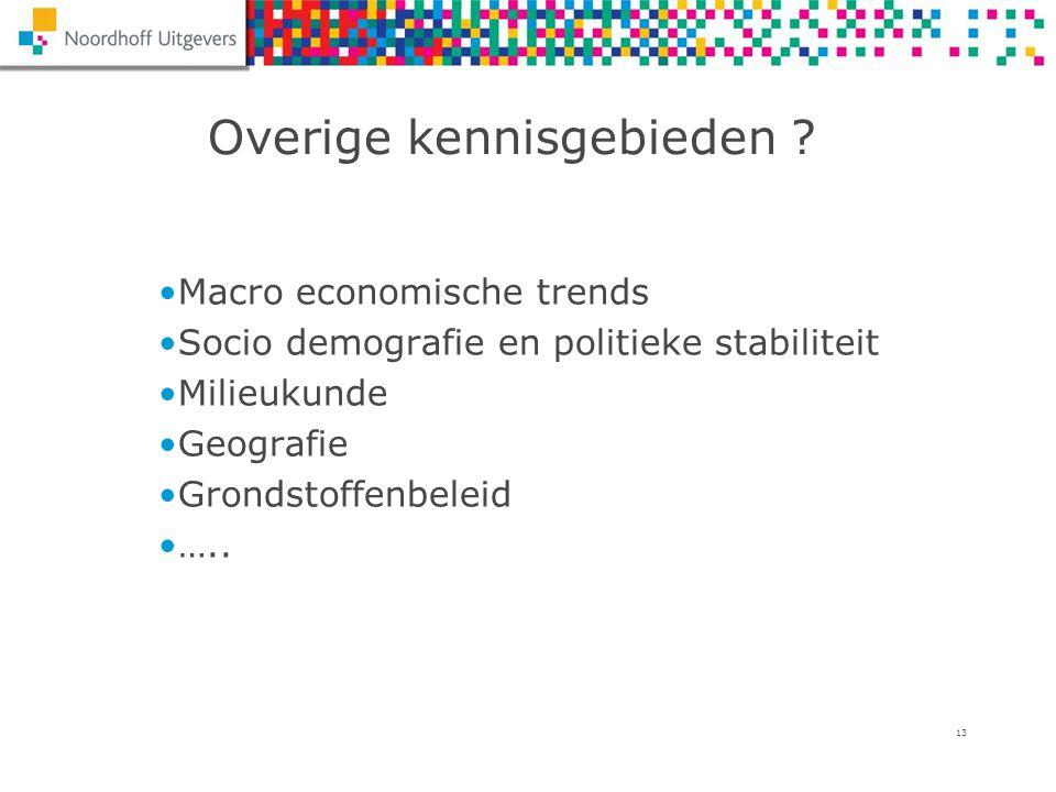 13 Overige kennisgebieden ? Macro economische trends Socio demografie en politieke stabiliteit Milieukunde Geografie Grondstoffenbeleid …..
