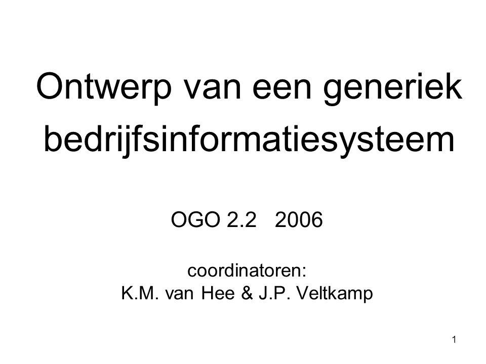 1 OGO 2.2 2006 coordinatoren: K.M. van Hee & J.P. Veltkamp Ontwerp van een generiek bedrijfsinformatiesysteem