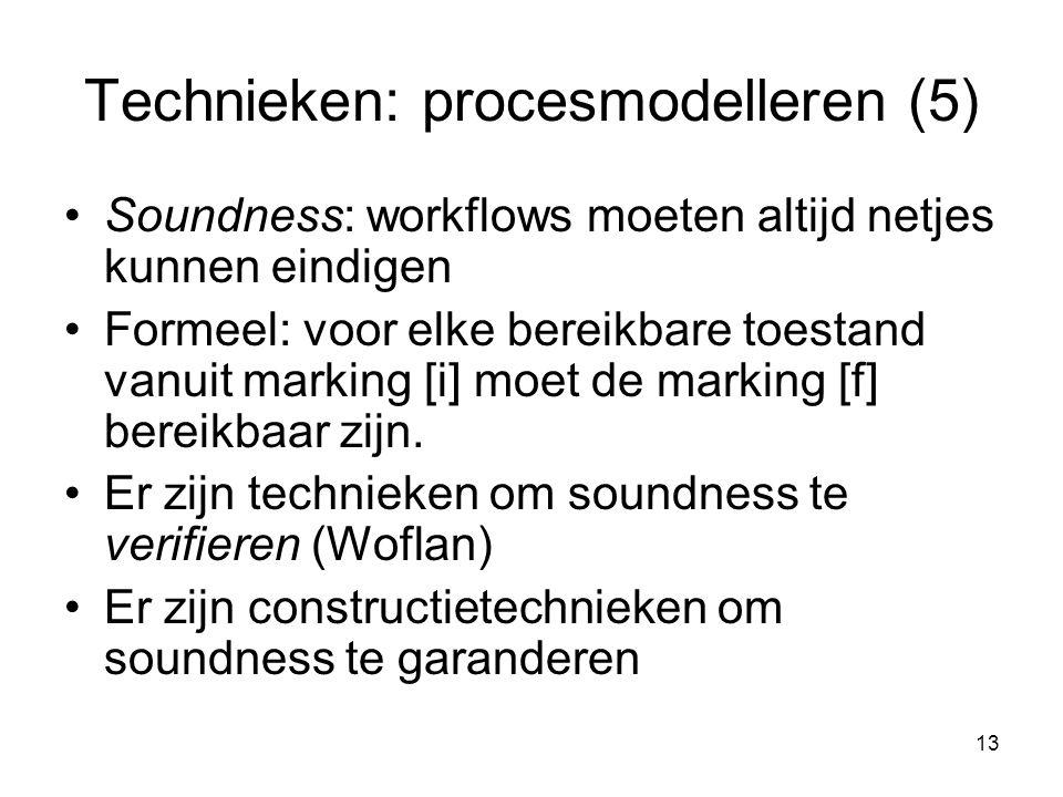 13 Technieken: procesmodelleren (5) Soundness: workflows moeten altijd netjes kunnen eindigen Formeel: voor elke bereikbare toestand vanuit marking [i
