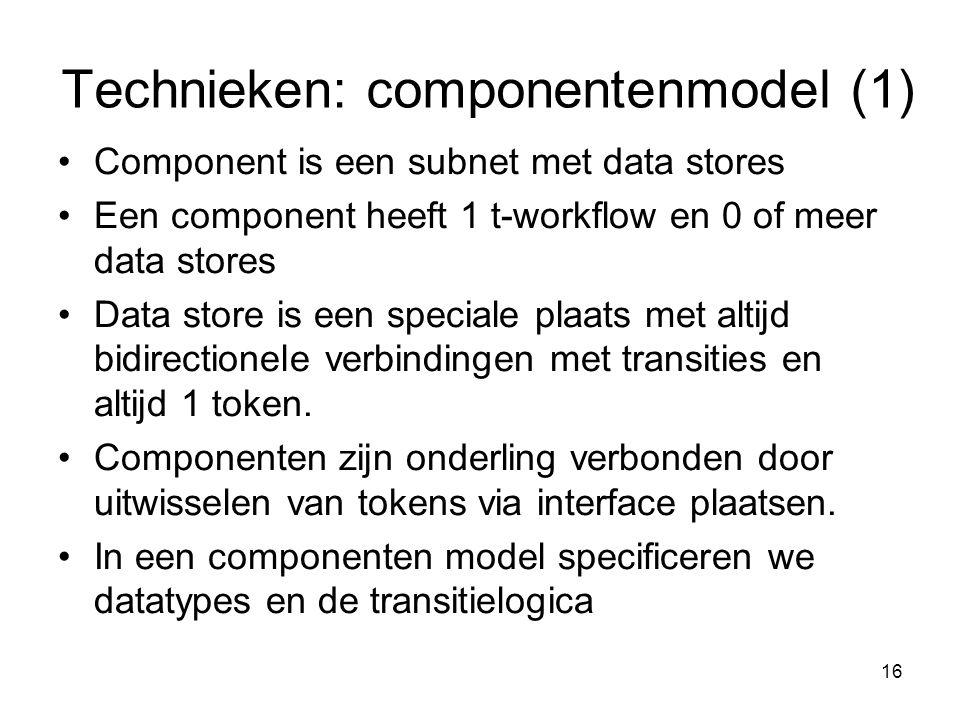 16 Technieken: componentenmodel (1) Component is een subnet met data stores Een component heeft 1 t-workflow en 0 of meer data stores Data store is ee