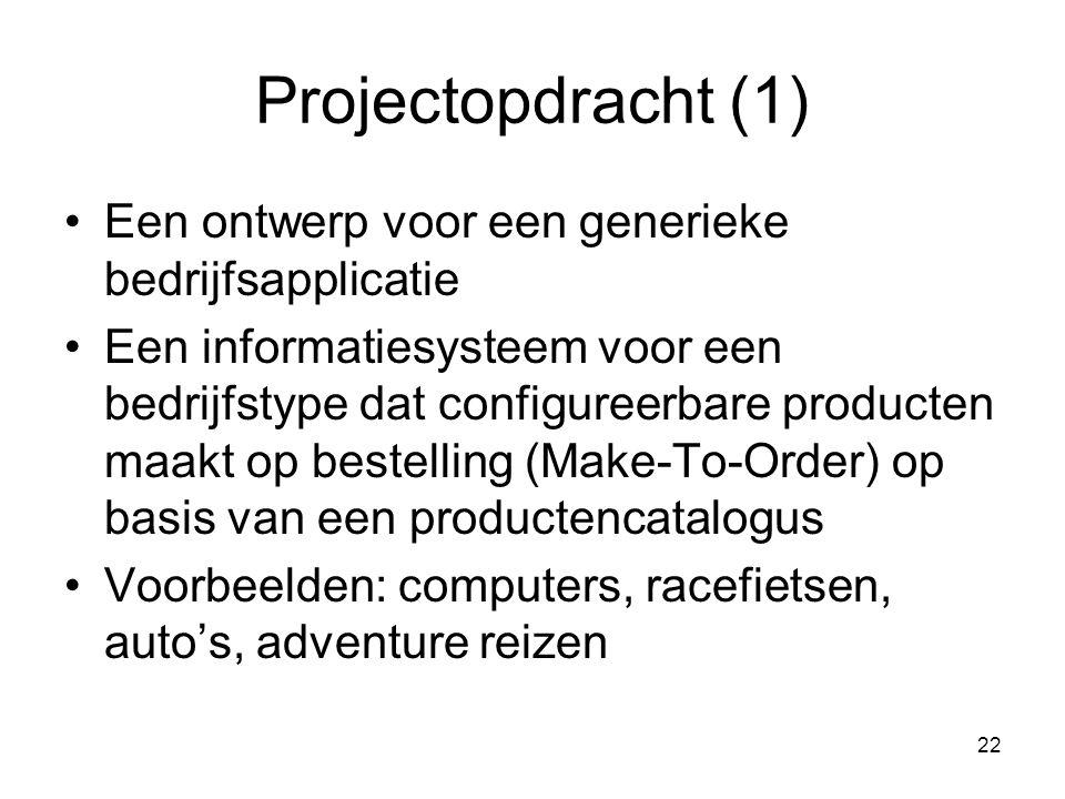 22 Projectopdracht (1) Een ontwerp voor een generieke bedrijfsapplicatie Een informatiesysteem voor een bedrijfstype dat configureerbare producten maa
