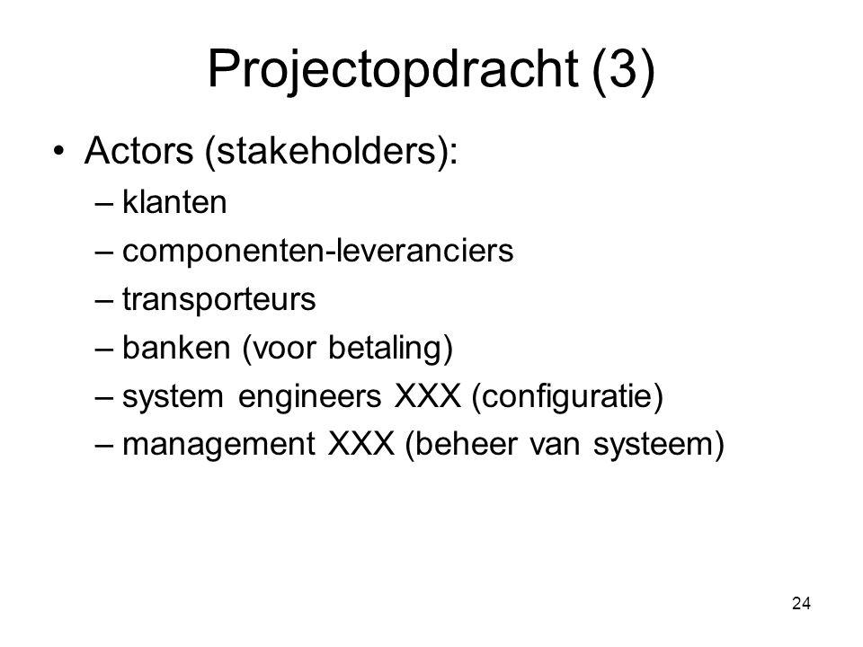 24 Projectopdracht (3) Actors (stakeholders): –klanten –componenten-leveranciers –transporteurs –banken (voor betaling) –system engineers XXX (configu