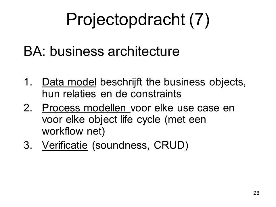 28 Projectopdracht (7) BA: business architecture 1.Data model beschrijft the business objects, hun relaties en de constraints 2.Process modellen voor