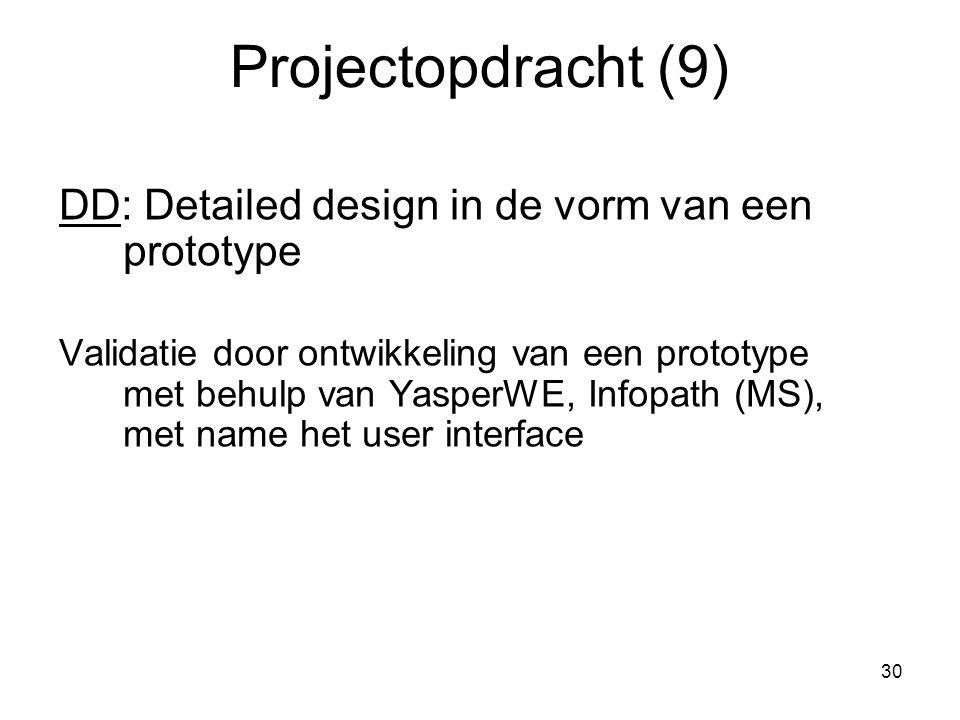 30 Projectopdracht (9) DD: Detailed design in de vorm van een prototype Validatie door ontwikkeling van een prototype met behulp van YasperWE, Infopat