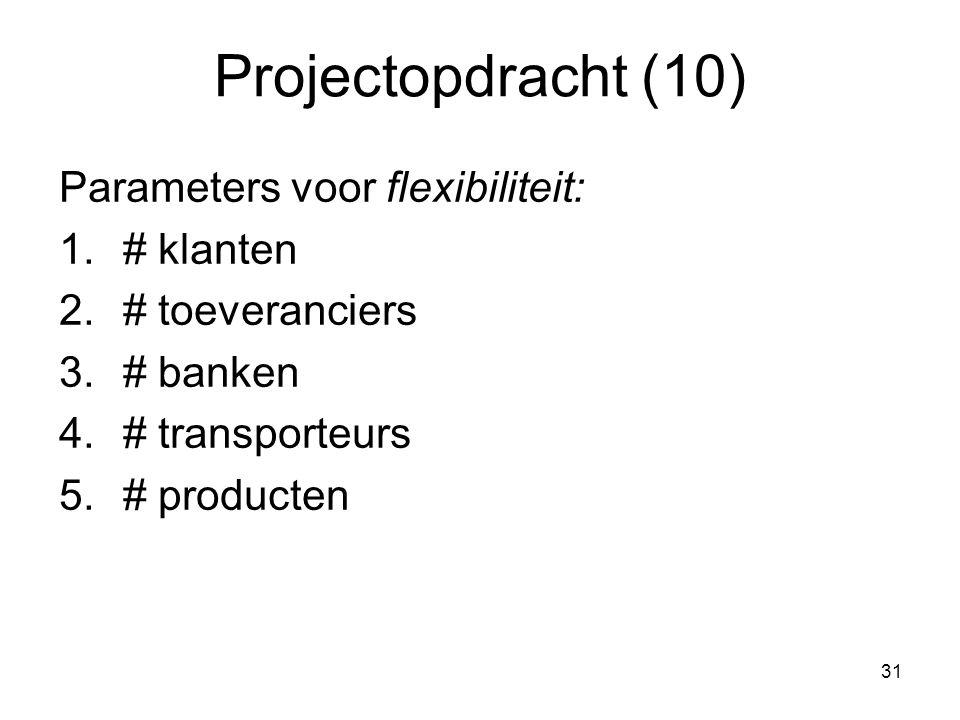 31 Projectopdracht (10) Parameters voor flexibiliteit: 1.# klanten 2.# toeveranciers 3.# banken 4.# transporteurs 5.# producten