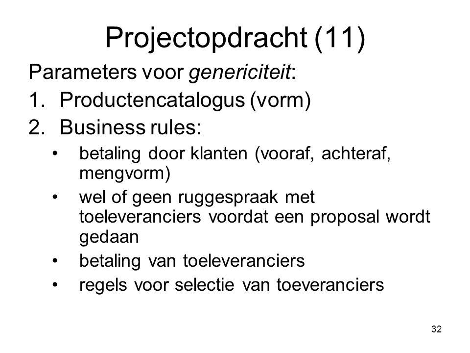 32 Projectopdracht (11) Parameters voor genericiteit: 1.Productencatalogus (vorm) 2.Business rules: betaling door klanten (vooraf, achteraf, mengvorm)