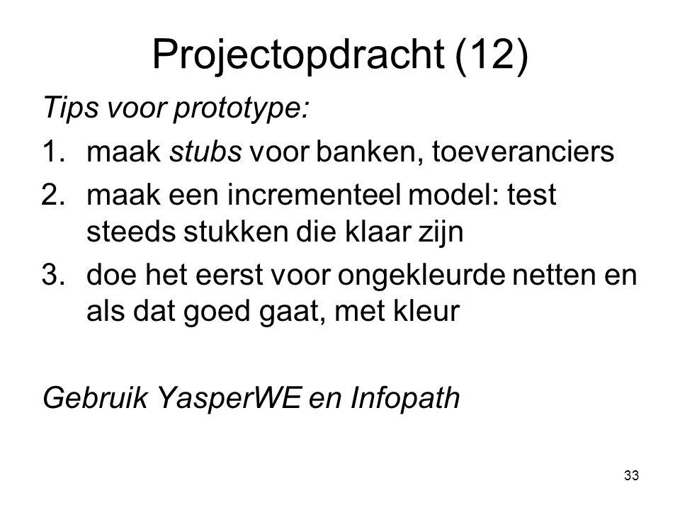 33 Projectopdracht (12) Tips voor prototype: 1.maak stubs voor banken, toeveranciers 2.maak een incrementeel model: test steeds stukken die klaar zijn