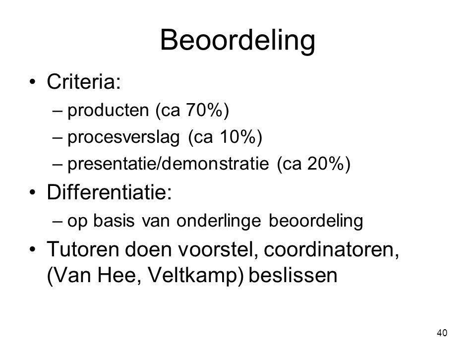 40 Beoordeling Criteria: –producten (ca 70%) –procesverslag (ca 10%) –presentatie/demonstratie (ca 20%) Differentiatie: –op basis van onderlinge beoor