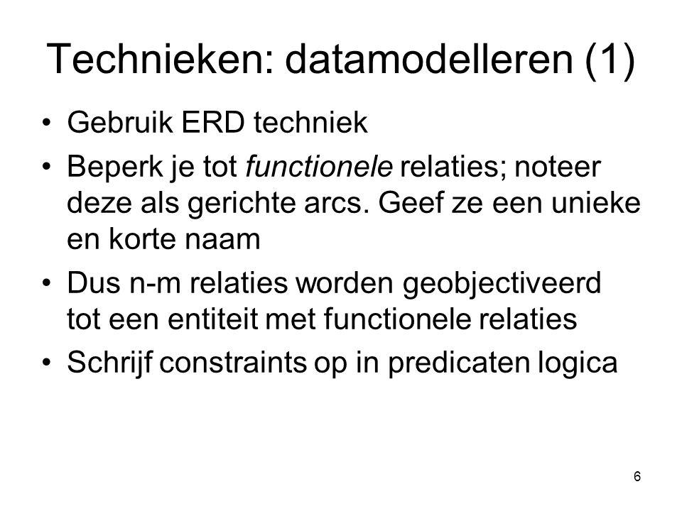 6 Technieken: datamodelleren (1) Gebruik ERD techniek Beperk je tot functionele relaties; noteer deze als gerichte arcs. Geef ze een unieke en korte n