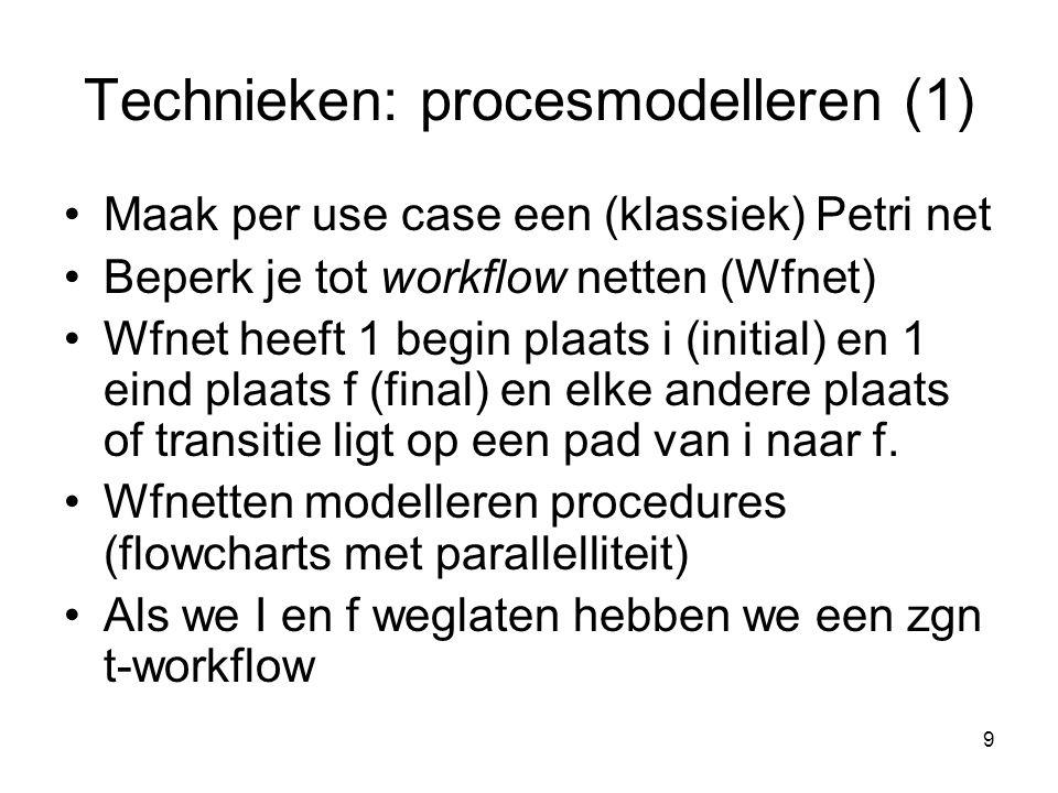 9 Technieken: procesmodelleren (1) Maak per use case een (klassiek) Petri net Beperk je tot workflow netten (Wfnet) Wfnet heeft 1 begin plaats i (init